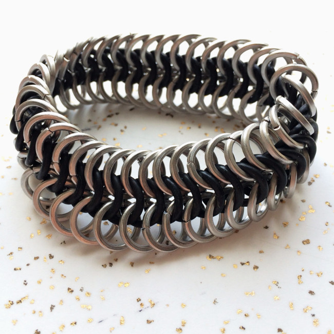 Stretchy Chainmaille Bracelet Square Stainless Steel Wire Brandon Rubin